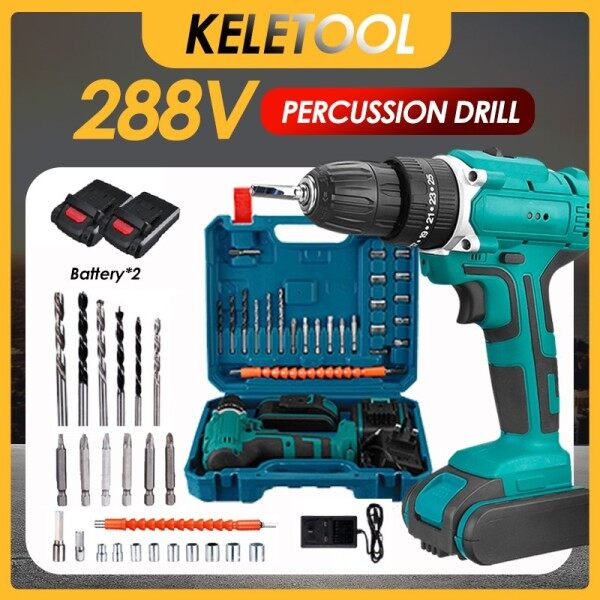 388v 3 in 1 Cordless Impact Electric Drill Hammer Screwdriver 25+3 Turque Wireless Driver Tools Set