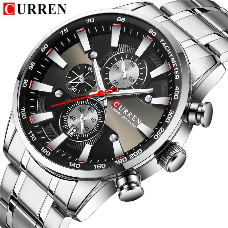 CURREN Brand Fashion Mens Luxury Quartz Watches Men Full Steel Men Casual Automatic Date Clock Chronograph Sport Waterproof Watch Malaysia