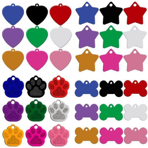80 Cái/lốc Engaved Đôi Bên Cá Nhân Con Chó Thẻ Tên Mặt Dây Chuyền Thẻ Địa Chỉ Số Điện Thoại ID Thú Cưng 9 Màu, Hỗn Hợp 4 Loại