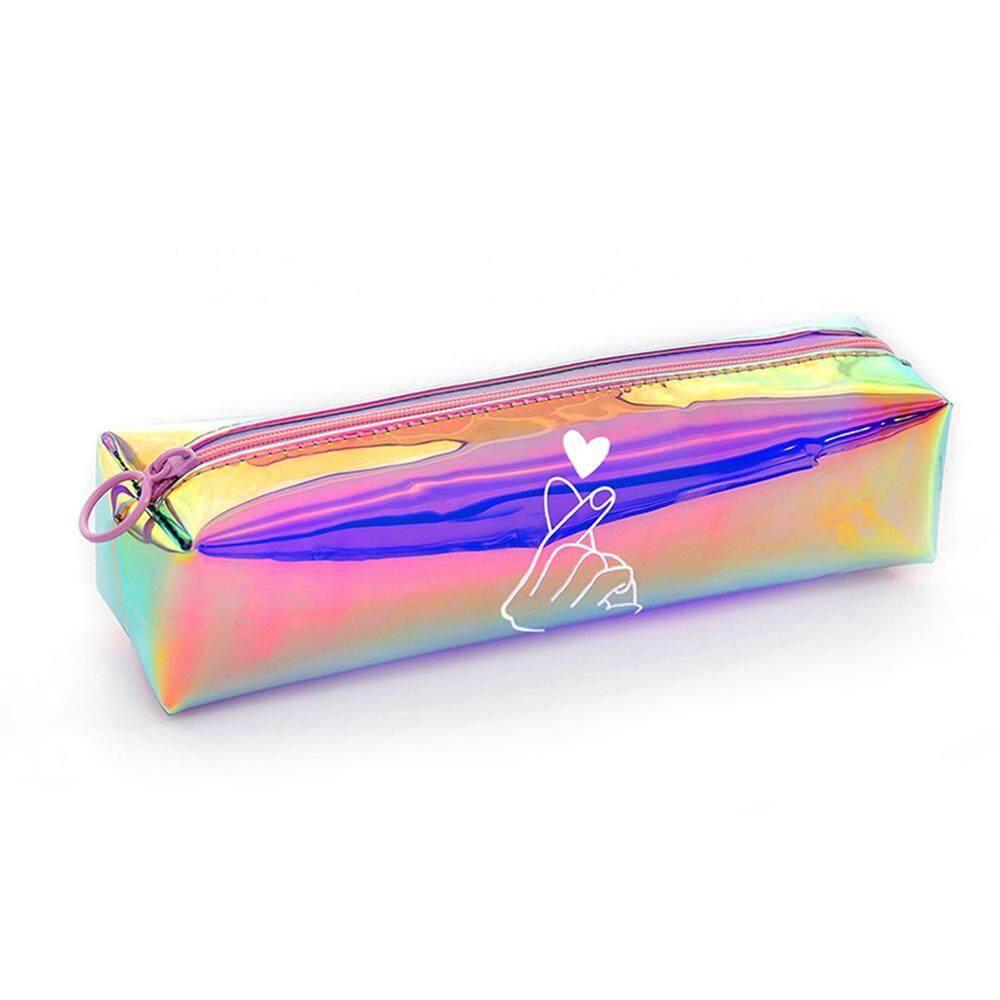 Buyinbulk Laser Kotak Pensil Bening Transparan Warna-warni Tas Pena Ritsleting Saku Makeup Kosmetik-Kecil Slim Lucu Wadah Pensil Tempat Pena Tas Pengelola