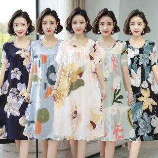 Sw đầm Lụa Cotton, Váy Ngủ Nữ Ngắn Tay thumbnail
