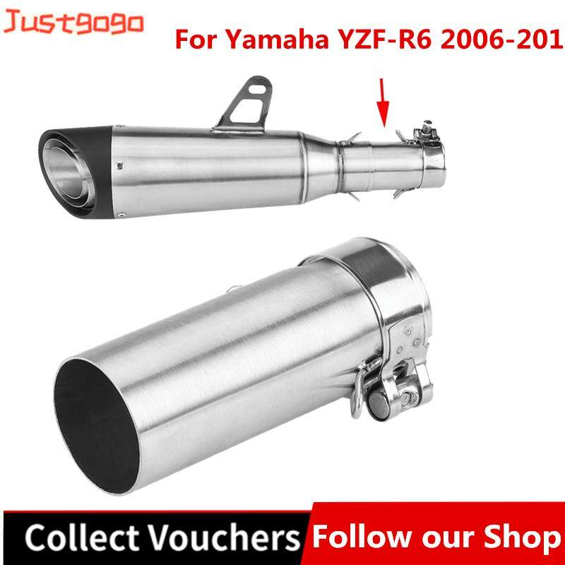 Justgogo 51mm Universal Motorcycle Exhaust Pipe Slip On Exhaust Middle Link  Pipe Adapter Connector for YZF-R6 2006-2014