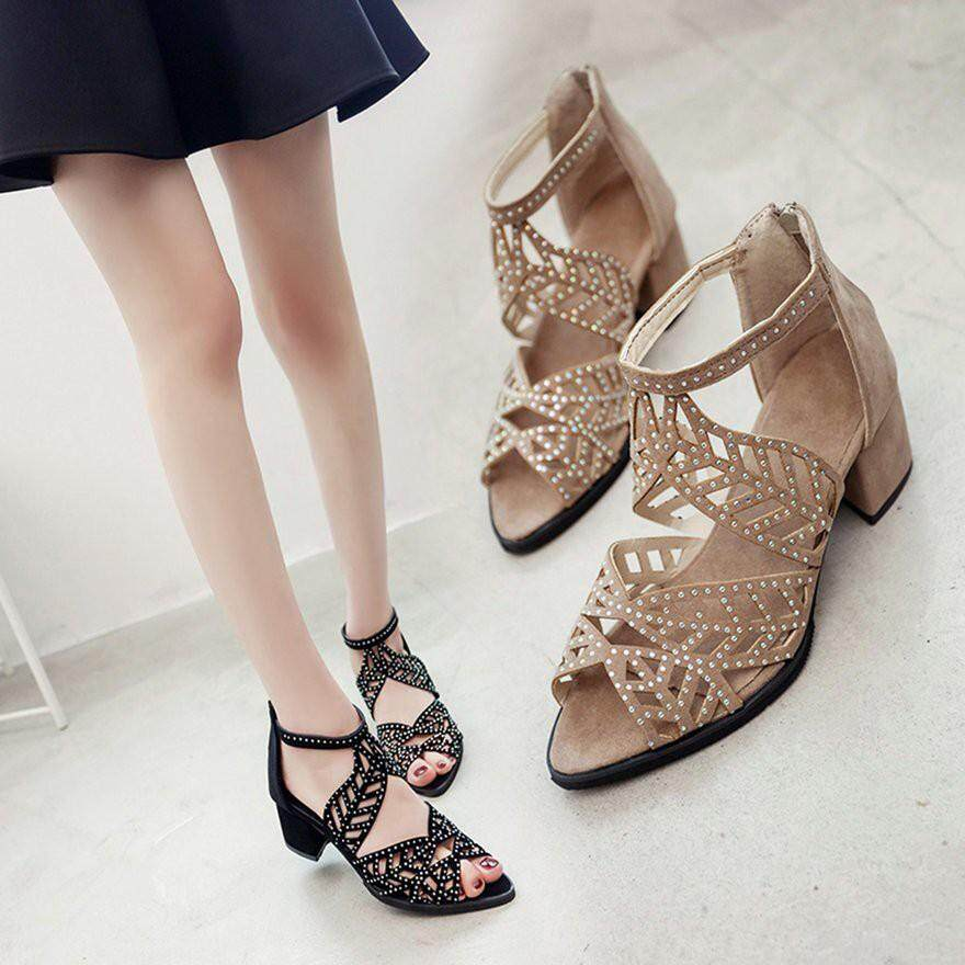 b79b177aa Fashion Rhinestone Hollow Leaves Pattern Lady Sandals Back Zipper Middle  Heels