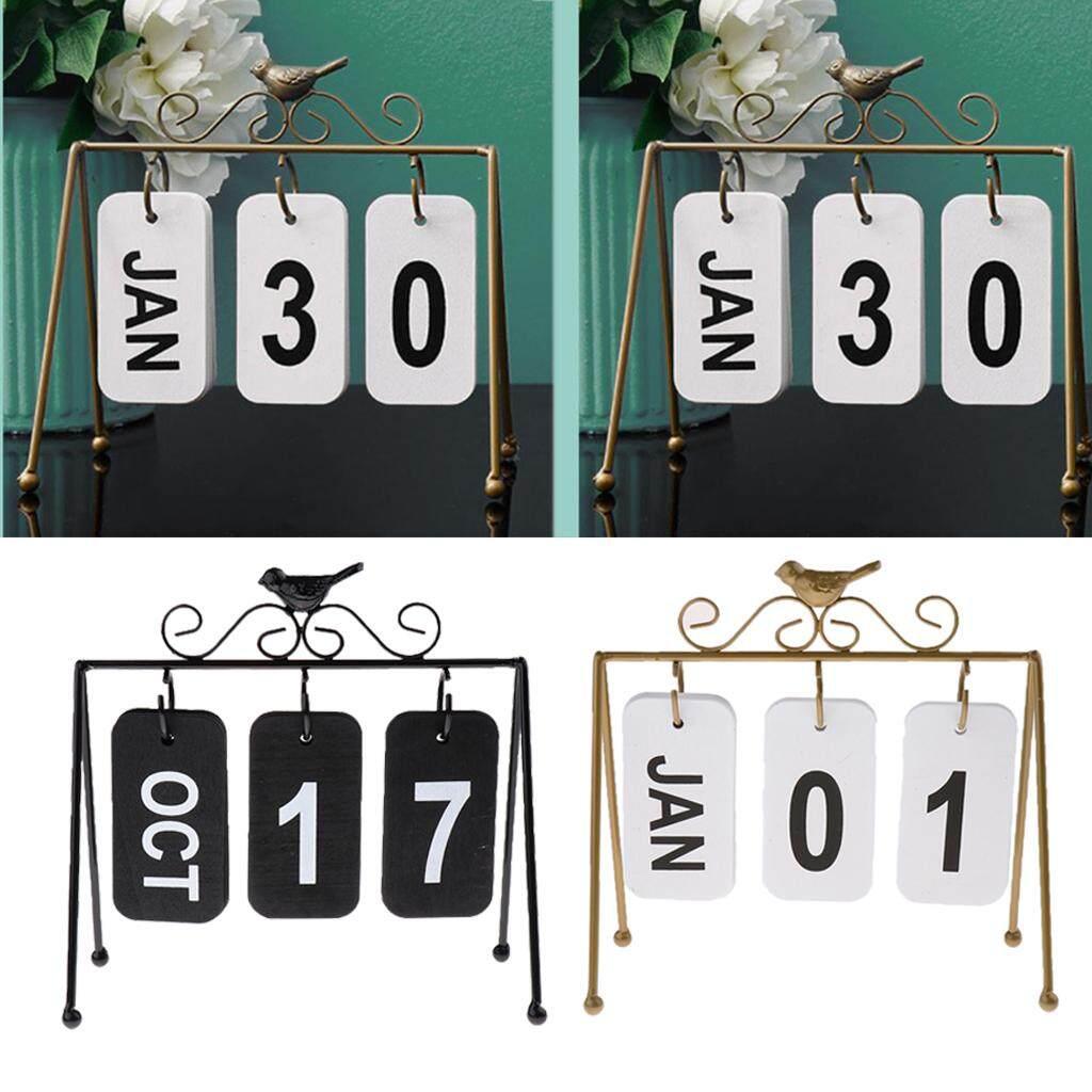 BolehDeals 2xBird Iron Art Calendar Home Ornaments Office Desktop Decoration Gold+Black