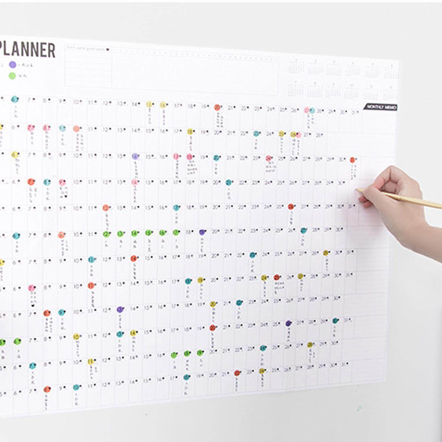 2019 Block Year Planner Daily Plan Paper Wall Calendar With 2 Sheet Eva Colorful Mark Stickers For Office School Home Supplies By The Bee Store.