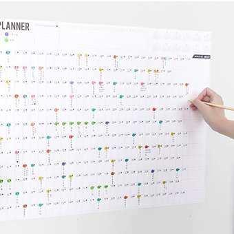 2019 บล็อกปีสมุดวางแผนประจำวัน Plan กระดาษปฏิทินติดผนัง 2 แผ่น EVA ที่มีสีสัน Mark สติกเกอร์สำหรับ Office School Home Supplies-