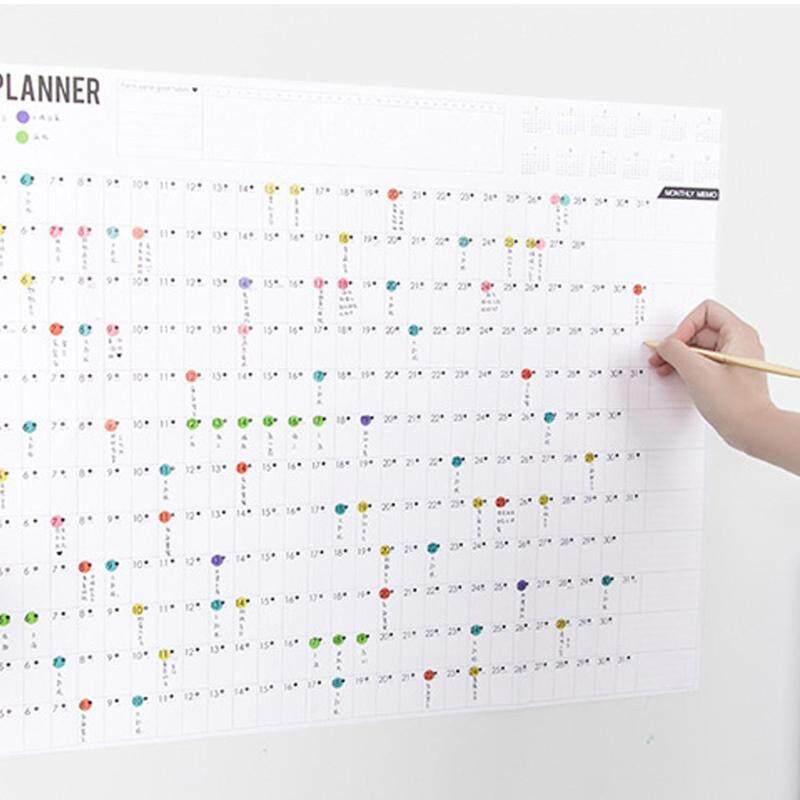 2019 Khối Năm Người Lập Kế Hoạch Hàng Ngày Kế Hoạch Giấy Lịch Treo Tường với 2 Tấm EVA Nhiều Màu Sắc Mark Dán cho Văn Phòng Học Nhà nguồn cung cấp
