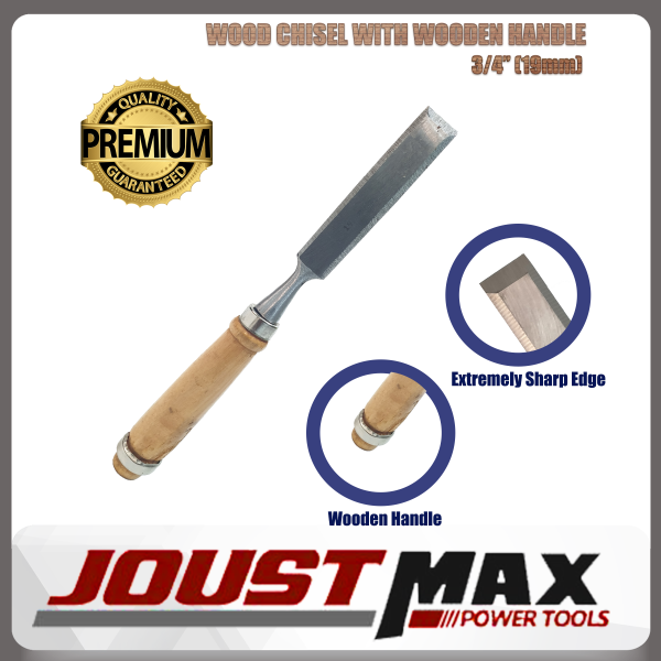3/4INCH (19MM) TOP QUALITY WOOD CHISEL WITH WOODEN HANDLE FOR WOODWORKING, CARVING, CARPENTING