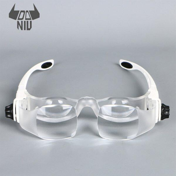 Headband 3.8X Bracket TV Glasses Magnifier Loupe Goggles Magnifying Glass with Phone Holder Glasses Case New