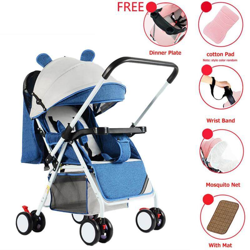 HQ Portable Folding Outdoor Double Way Lying Sitting Stroller with 4 Wheels for Kids Infant Baby Singapore
