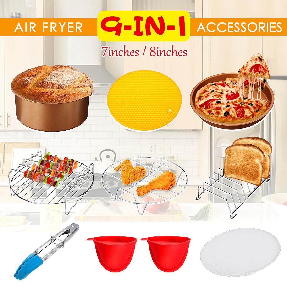 7 inch 9 CHIẾC Nồi Chiên Không Dầu Air Fryer Phụ Kiện Airfryer Chip Nướng bánh Bộ Dành Cho 3.2-6.8QT