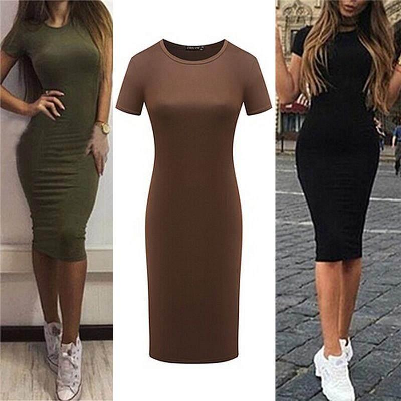 f7771dfd99 AngelCity Women Cotton Knee-Length Skinny Office Dress Short Sleeve Bodycon  Pencil Dress