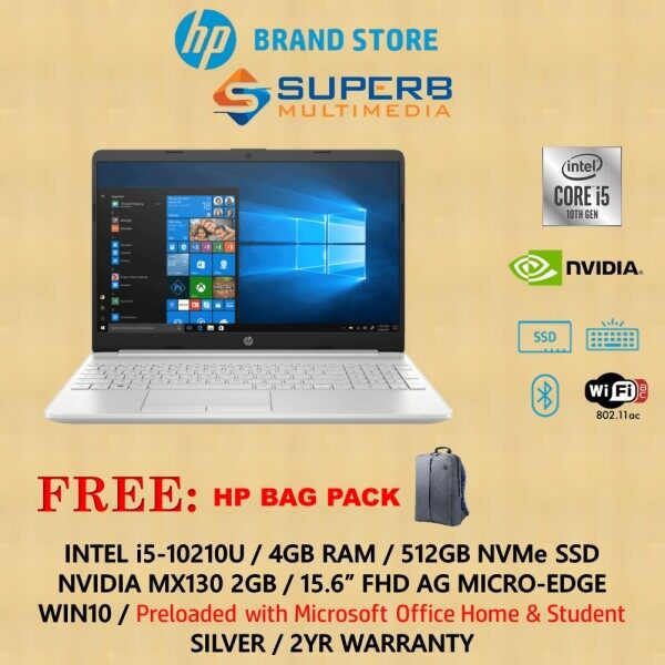 HP Notebook - 15s-du1075tx laptop (i5-10210U, 4GB, 512GB SSD, MX130 2GB, Win10, Silver, OPI) Malaysia