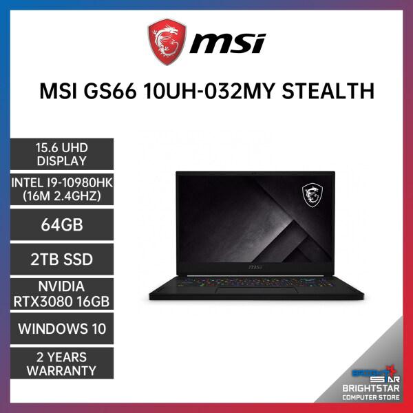 MSI GS66 10UH-032MY STEALTH GAMING LAPTOP 15.6 UHD / INTEL I5-10200H / 16GB / 512GB SSD / NVIDIA RTX3060 6GB / 2 YEARS WARRANTY / 144HZ Malaysia