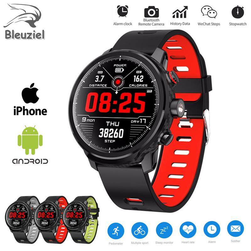 Bleuziel L5 Smartwatch IP68 Pria Beberapa Mode Olahraga 1.3 Inch 512KB 64KB Ram ROM Bluetooth Denyut Jantung Frekuensi Tahan Air Jam Tangan Pintar untuk iPhone huawei Xiaomi HP PK DZ09