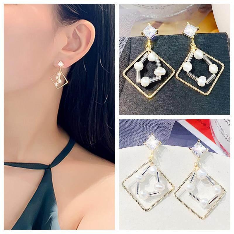 a813aa5d6 Fashion Creativity Geometric Hollow Square Pearl Stud Earrings for Women  925 Silver Needle Zircon Drop Earrings