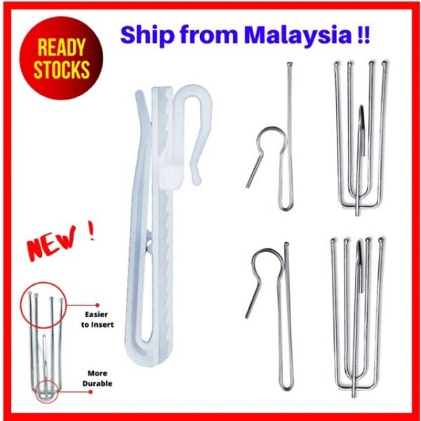 BUYNSAVE READY STOCK High Quality Curtain Hooks Cangkuk Langsir French Pleat Pinch Pleat 1 4 pin kaki Adjustable Hook 7cm 9cm