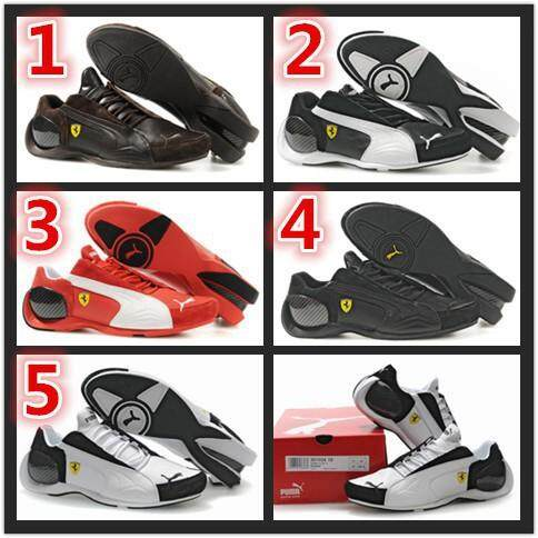 100%_★_100%_Original_PUMA_Mens_shoes_Ferrari_#4_Generations_Brown_white_black_red_Kasut