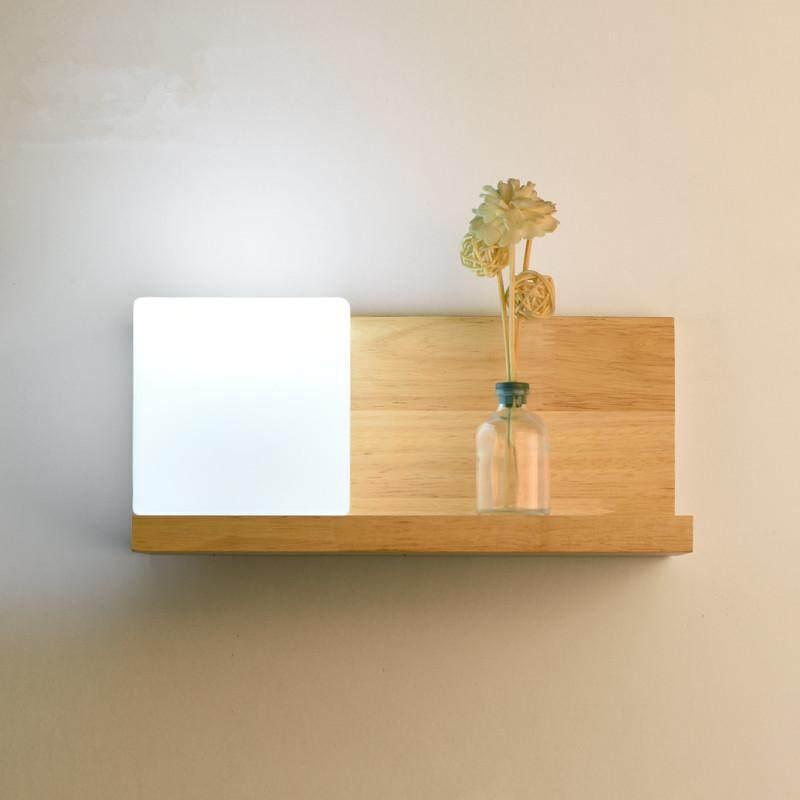 QUKAU Log wall lamp E27 bulb wooden lighting LED TV wall lamp Bedroom bedside wall lamp