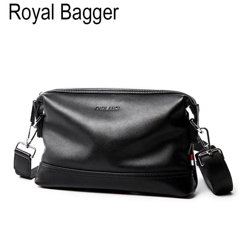 Royal Bagger Shoulder Messenger Bag For Men Genuine Cow Leather Casual