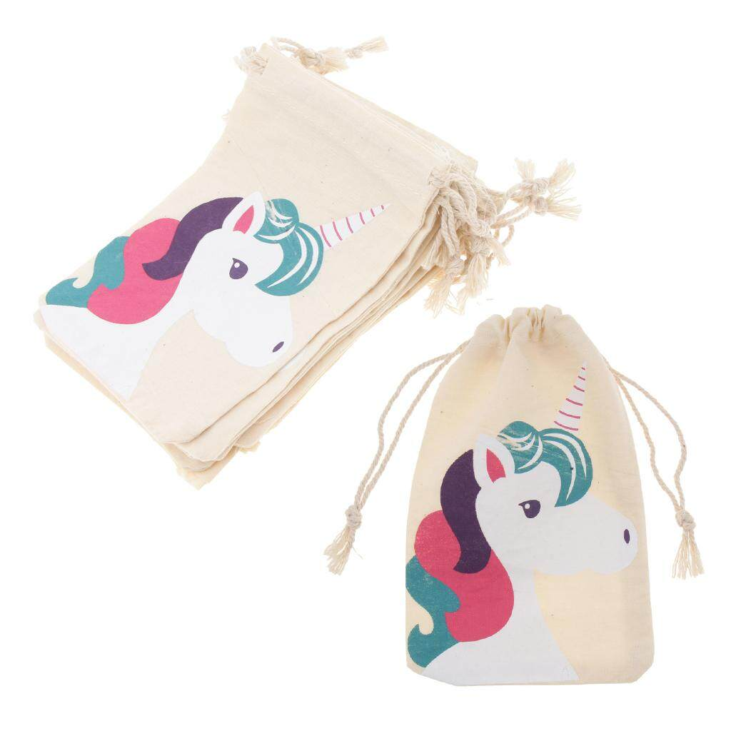 Loviver 20 x Unicorn Cotton Linen Sack Jewelry Pouch Drawstring Bag Favors