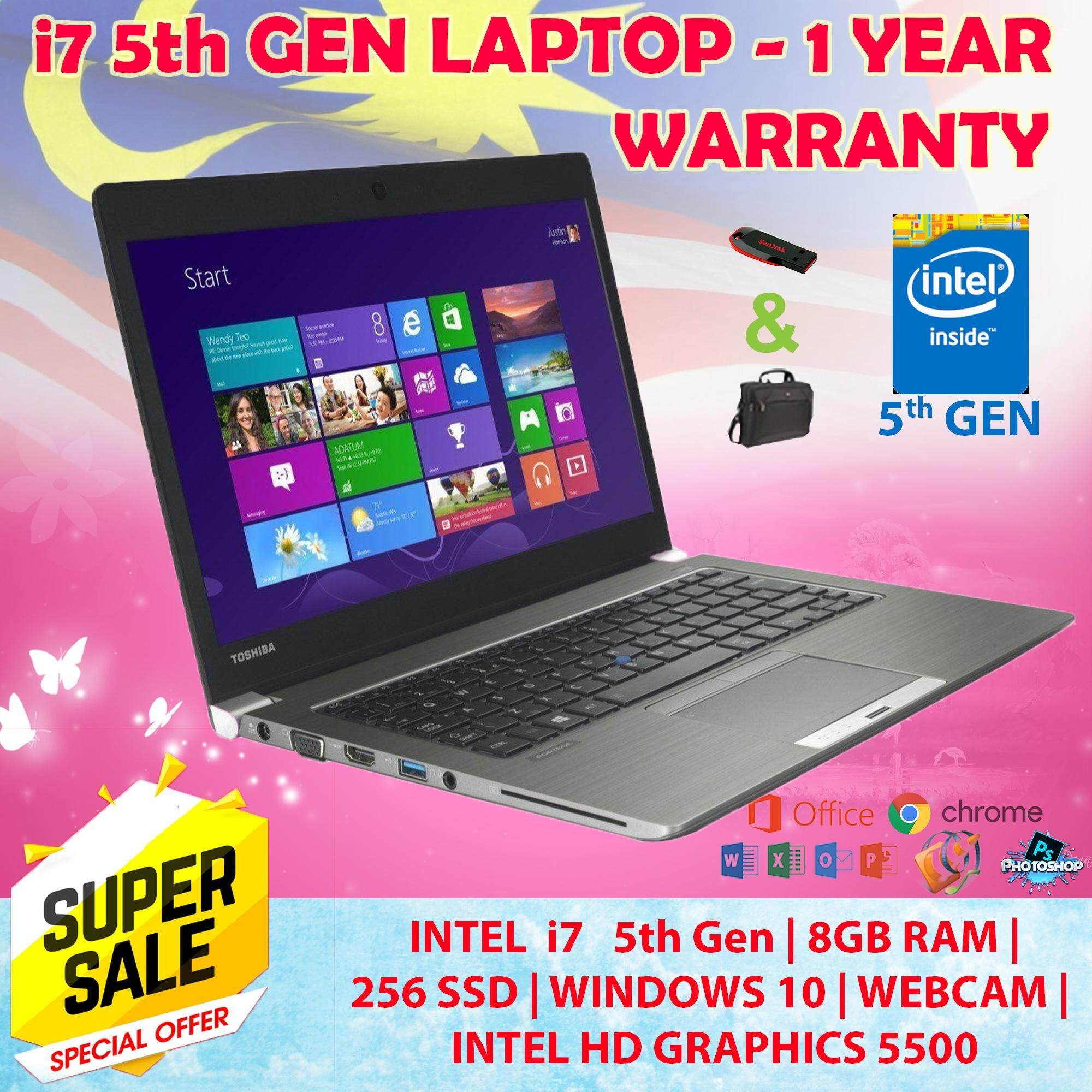 Toshiba UltraBook PORTEGE Z30- CORE I7-5th Gen Laptop 8GB RAM 256GB SSD Webcam , 1 Year Warranty 100% Original Free 16GB Pendrive + Bag Malaysia