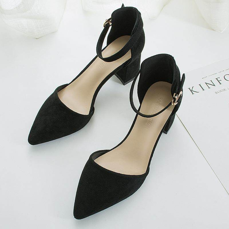 344f75031a8 2019 new style hollow single shoe cusp thick heel sandal hundred tie suede  one character buckle