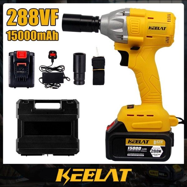 Electric Cordless Brushless Impact Wrench Electric Wrench Drill Tool Gun 1/2 Driver 2x288VFx15000mAh Battery