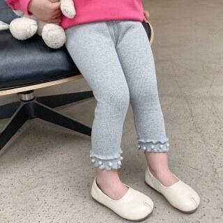 Zhihuida Legging Bé Gái 3-8 Tuổi Quần Legging 9 Tấc Màu Trơn Cotton Quần Legging Ôm Sát Kẻ Sọc Ngọc Trai Quần Cho Bé Gái thumbnail