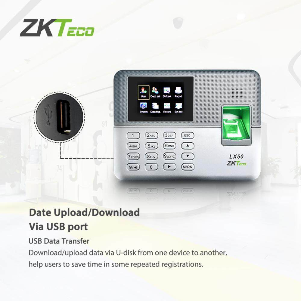ZKTeco 2 8 inch TFT USB Biometric Fingerprint Time Attendance Machine Time  Clock Recorder Employee Checking-in/out Reader LX50