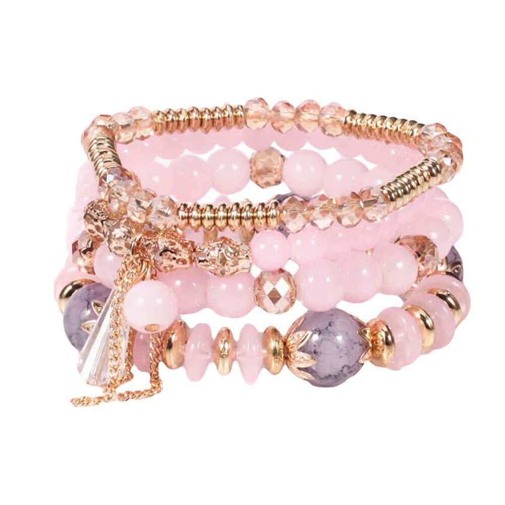 Hấp Dẫn Sóng 4 Cái/bộ Boho Faux Agate Ngọc Trai Tassel Chain Charm Đính Cườm Bracelet Phụ Nữ Jewelry