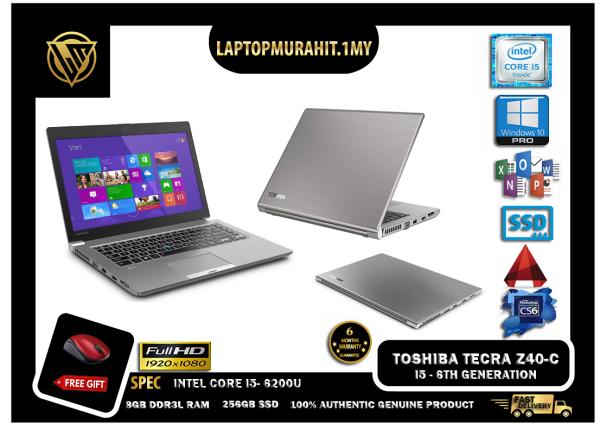 TOSHIBA TECRA Z40-C 14 INCH SLIM - INTEL CORE I5 6TH GEN / 8GB RAM / 256GB SSD STORAGE / BASIC SOFTWARES / WINDOW 10 PRO GENUINE / ULTRABOOK BUSINESS [#LAPTOP] Malaysia