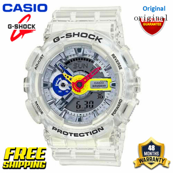 Original G Shock GA110 Men Sport Watch Dual Time Display 200M Water Resistant Shockproof and Waterproof World Time LED Auto Light Sports Wrist Watches with 4 Years Warranty GA-110FRG-7A Transparent White (Ready Stock) Malaysia