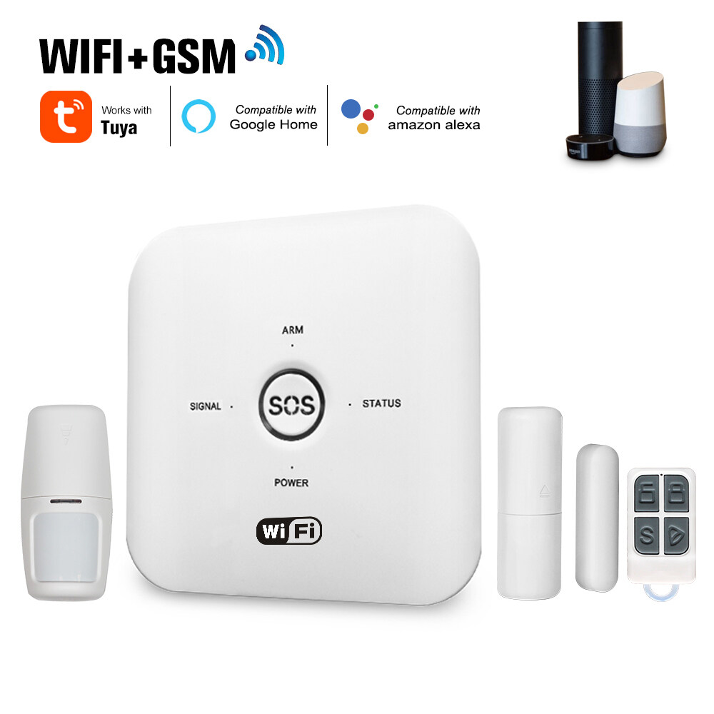 Tuya Smart WIFI GSM Home Security Alarm System PIR Remote Controlled Compatible with Alexa Google Assistant 100-240V Alarm System for Home
