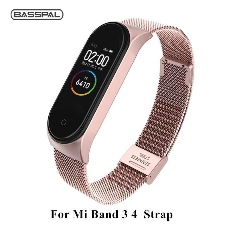 Basspal Strap For Xiaomi Mi Band 3 4 Wrist Metal Bracelet Screwless Stainless Steel For Xiaomi Mi Band 4 3 Strap Wristbands.
