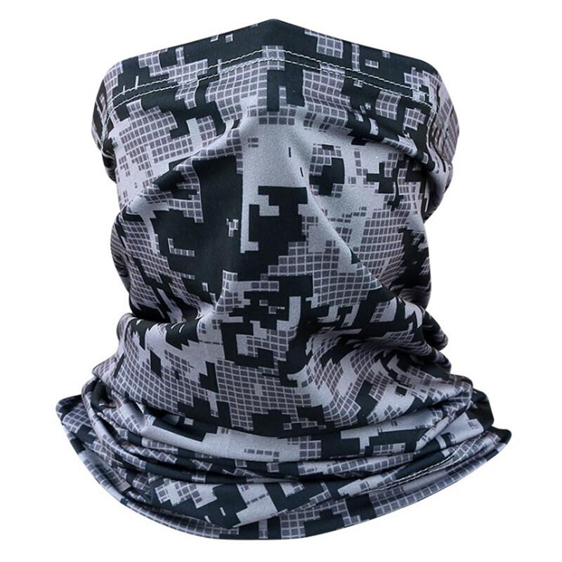 Haha กลางแจ้งขี่จักรยานกีฬา Camouflage ผ้าพันคอ Shield ป้องกันหัวผ้าคลุมหน้า.