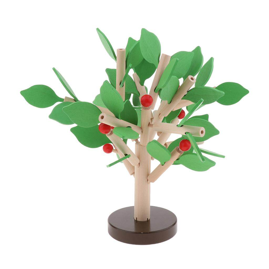 Perfk 2Pack Kid 3D Wooden Assembled Leaf Tree Puzzle Toy for 3-6 Years O