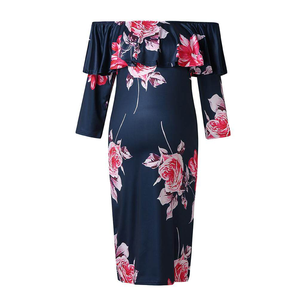 e3ccd7d6339b0 Myapple Women's Maternity Print Dress Off Shoulder Half Sleeve Casual Maxi  Dress