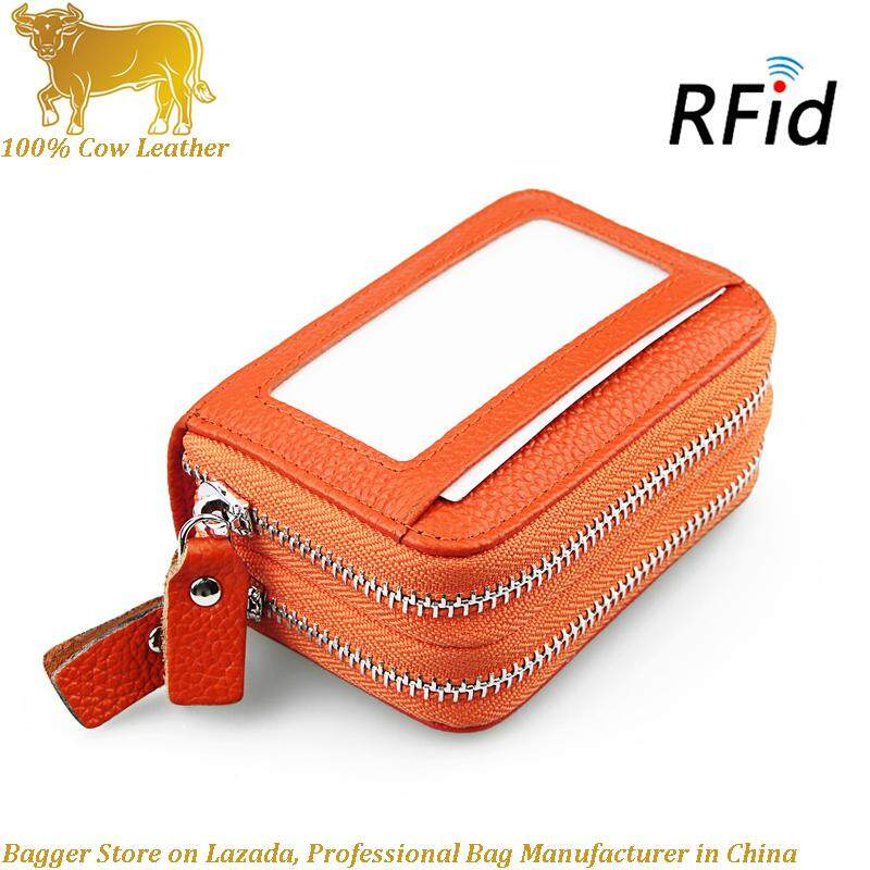100% Genuine Cow Leather Elegant Purse Double Increase Wallet 0rgan Card RIFD Fashion New Driving License Silver Bag Antimagnetic Card Bag For Women Girls