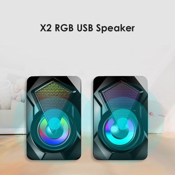 X2 USB Powered Computer Speakers 3Wx2 Multimedia Bass Speakers with RGB Light Computer Accessories