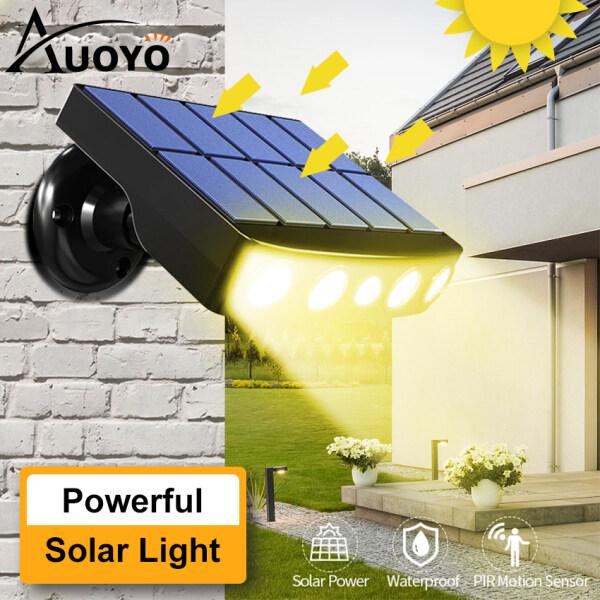 Auoyo Solar Wall Lights LED 3 Mode Sensor Light 6M Human Induction IPX5 Waterproof Outdoor Garden Lighting Spotlights Door Side Garden Stairs Balcony Fence Street Lamp
