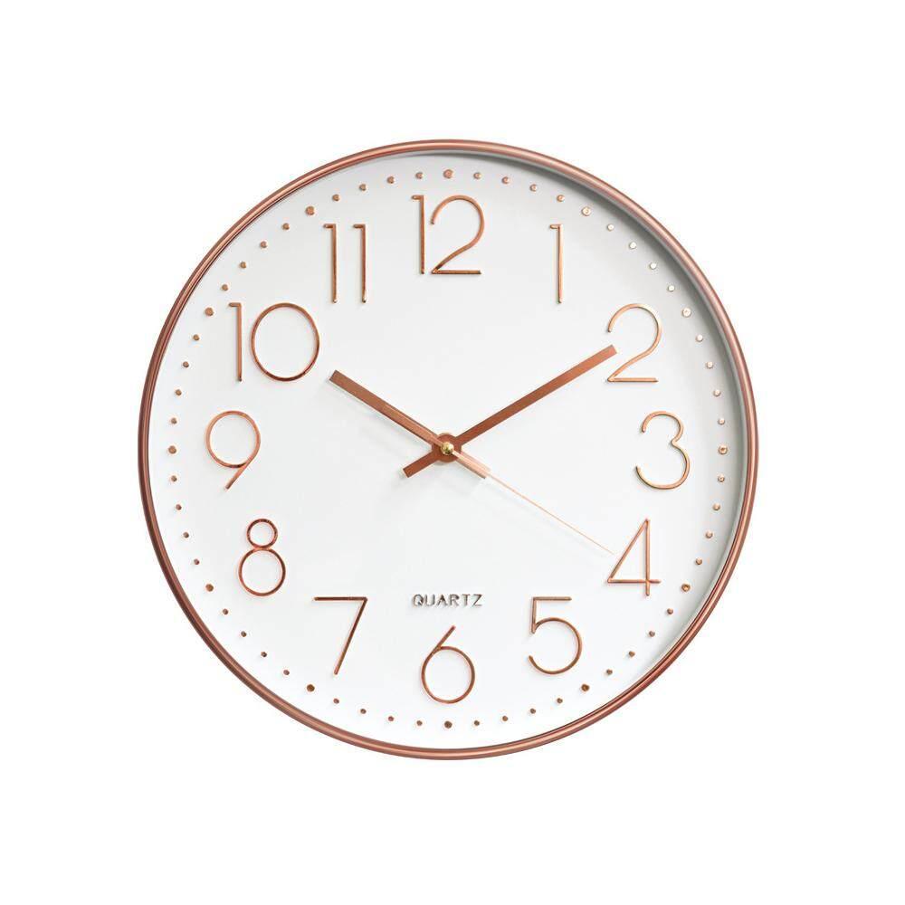 Wall Clock Rose Gold 12inch Quartz Fashion Home Decoration Bedroom Digital Clock Quartz Clock