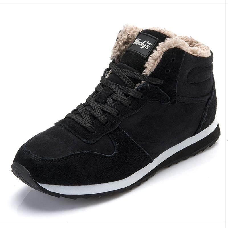 ผู้ชายรองเท้าผู้ชายฤดูหนาวรองเท้าแฟชั่นหิมะรองเท้าบู๊ทเล่นหิมะข้อเท้าผู้ชายรองเท้าบูทฤดูหนาวสีดำ Hh-105 By Chhuist.