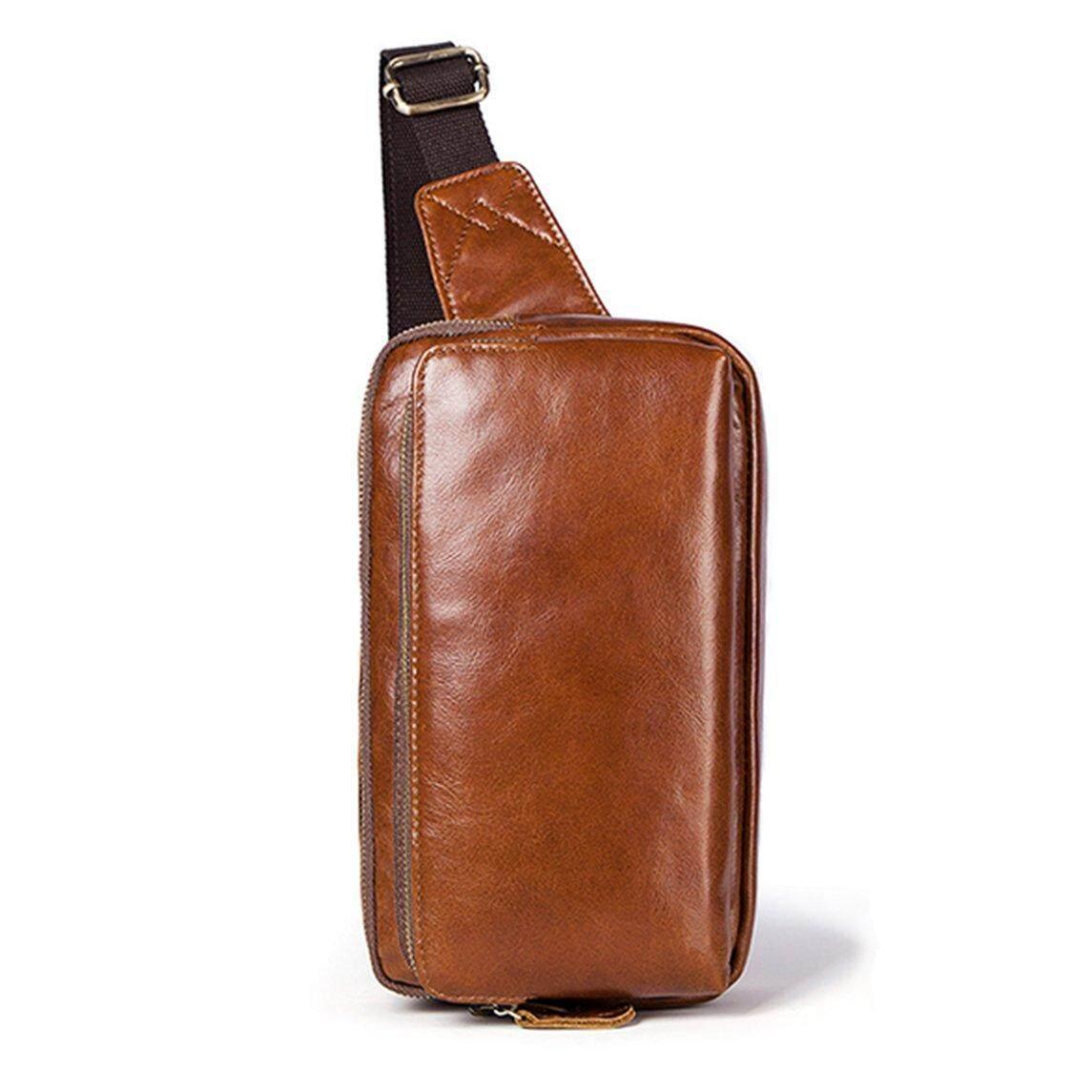 88f536111 Crazy Sale Chest Bag Men Crossbody Messenger Real Leather Shoulder Diagonal  New Back Pack Travel Sling