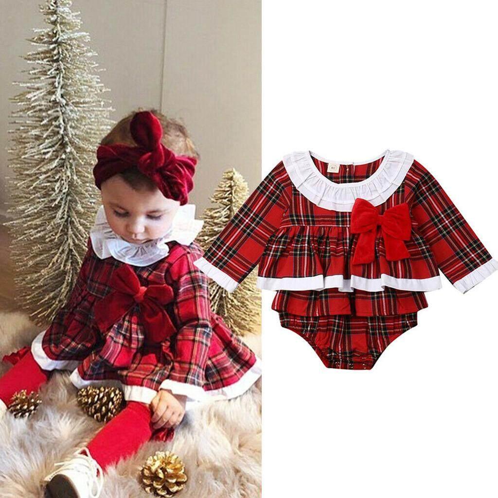 Rayeshop ทารกแรกคลอดสาว Ruffle Bow เสื้อผ้าเดรสลายสก็อตเสื้อลูกไม้ชุดรอมเปอร์