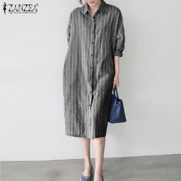Đầm Midi Dài Tay Sọc ZANZEA Cho Nữ, Đầm Áo Thun Thường Ngày Nghỉ Mát