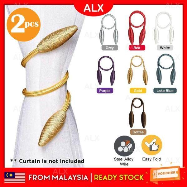 ALX Malaysia 2pcs Steel Alloy Wire Design Curtain Holder Buckle Tieback Clips Home Window Accessories Pengikat Langsir