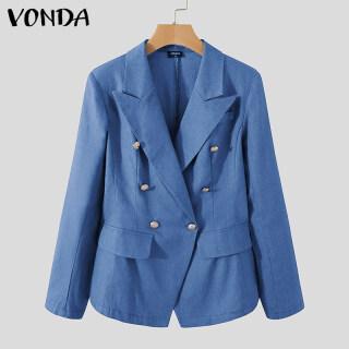 (Thường Nhật Hàn Quốc) VONDA S-5XL Áo Blazer Nữ Áo Khoác Cổ Chữ V Cổ Điển, Áo Khoác Màu Trơn Thường Ngày thumbnail