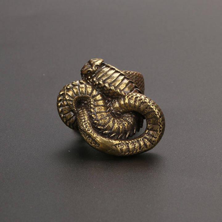 Mini Brass Snake Statue Ornament Miniature Figurines Home Office Decoration