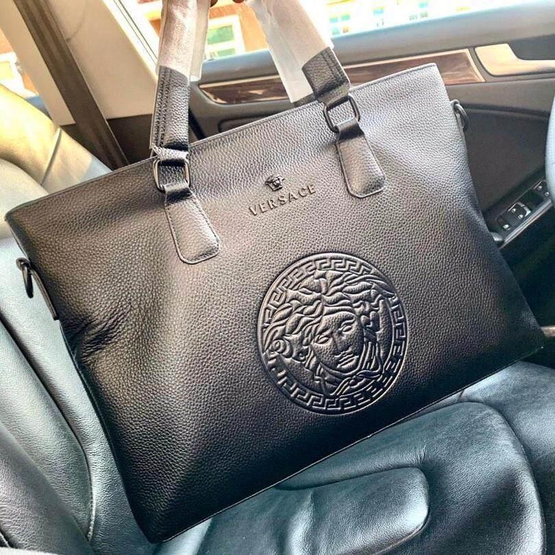 8fd56d114ef6 Versac Men's new fashion business bag, leather briefcase, luxury handbag,  work bag